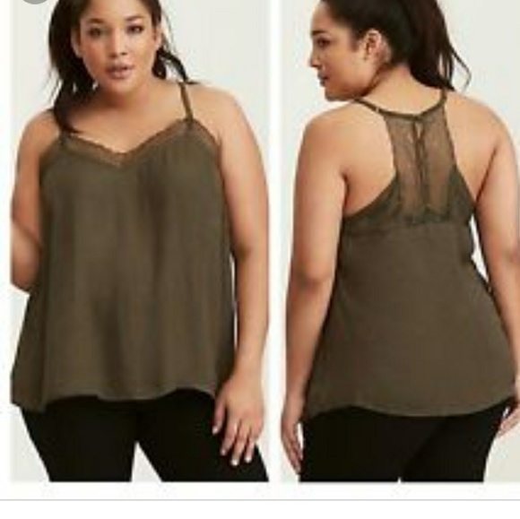 13c735fa264ac6 NWOT TORRID Lace tank cami Olive green 2X. M 5aaaf94a3a112e7546e846d8.  Other Tops ...